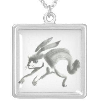 Necklace - March Hare, Sumi-e