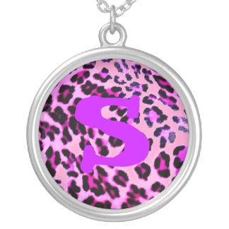 Necklace-pink leopard w/letter round pendant necklace