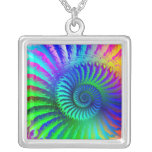 Necklace - Psychedelic Fractal Blue Terquoise