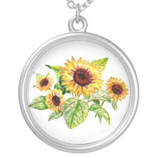 Necklace, Sunflower Bouquet Drawing Silver Plated Necklace