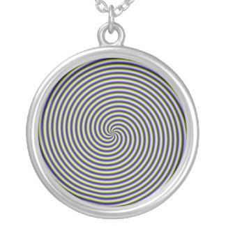 Necklace  Swirl in Green Blue and Violet