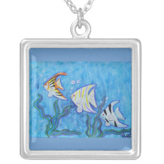 Necklace-Tropical Angelfish Square Pendant Necklace