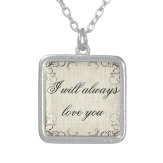 necklace,vintage, i will always love you,love square pendant necklace