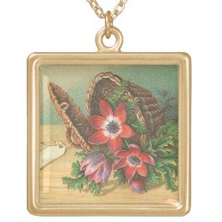 Necklace - vintage red floral basket illustration