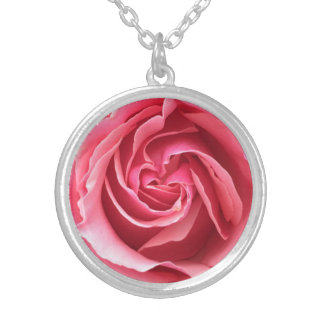 Necklace with close up photo of pink rose