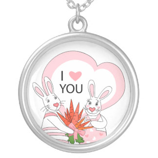 Necklace with funny rabbit couple