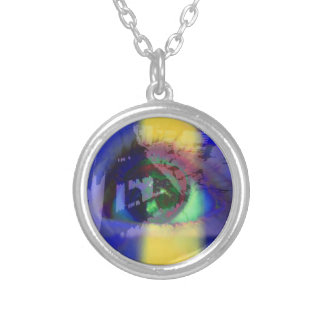 Necklace with graphic design of an eye
