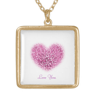 Necklace with Heart Design & Love You Message.