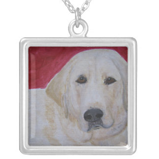 Necklace, Yellow Labrador Retriever Painting Silver Plated Necklace