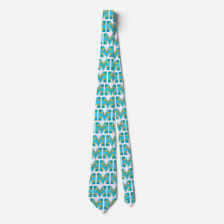 NeckTie with Letter M Design and White Background