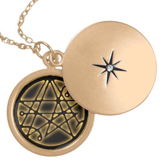 Necronomicon - Gateway Sigilum Gold Talisman. Locket Necklace