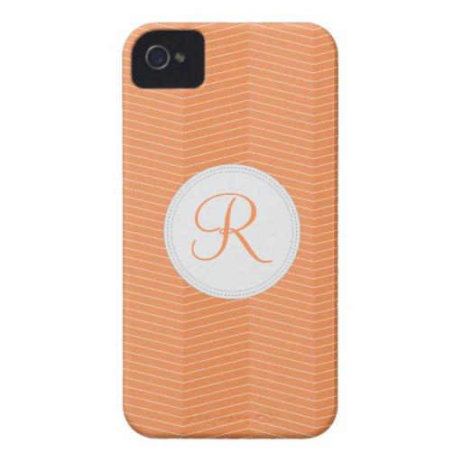 Nectarine Orange Monogram Thin Chevron Pattern Blackberry Bold Covers