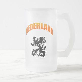 Nederland leeuw Voetbal wk Frosted Glass Mug