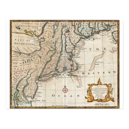 Nee England Ancient Map 1747 Post Cards