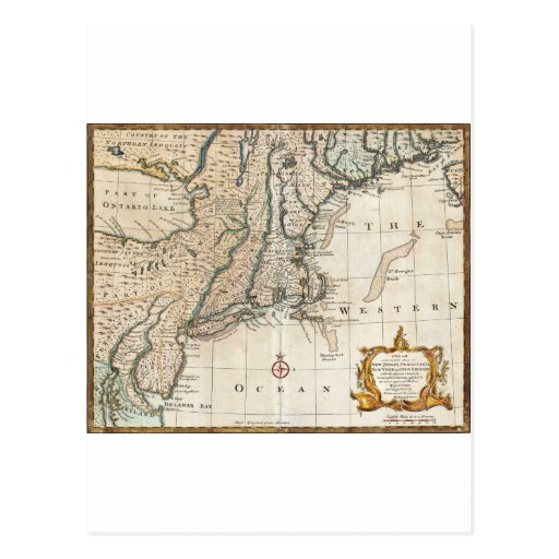 Nee England Ancient Map 1747 Postcards
