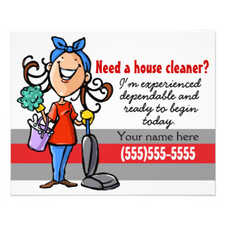 Need a Housecleaner? Custom marketing flyer