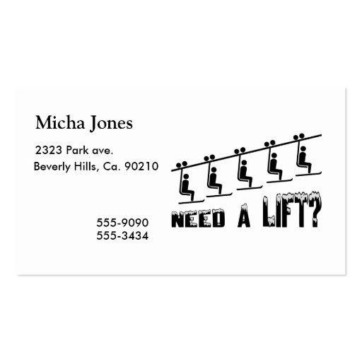 Need A Ski Lift Business Card