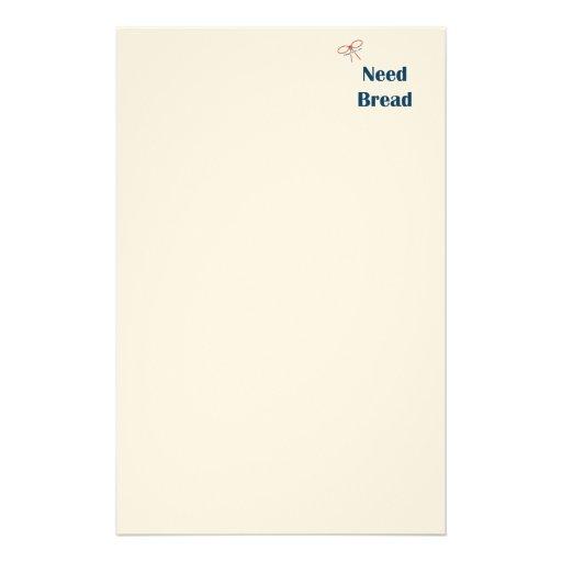Need Bread Reminders Custom Stationery
