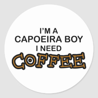 Need Coffee - Capoeira Boy Round Sticker