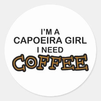 Need Coffee - Capoeira Girl Round Sticker
