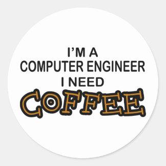 Need Coffee - Computer Engineer Round Sticker