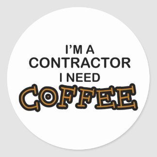 Need Coffee - Contractor Classic Round Sticker