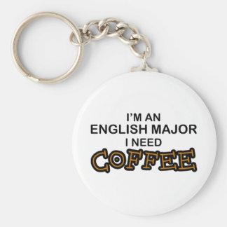 Need Coffee - English Major Basic Round Button Key Ring