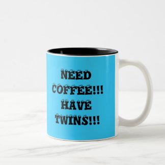 NEED COFFEE!!!  HAVE TWINS!!! Two-Tone COFFEE MUG