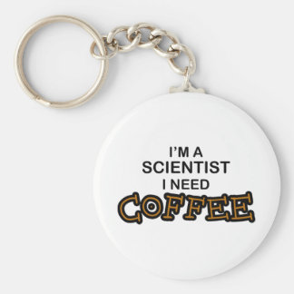 Need Coffee - Scientist Basic Round Button Key Ring