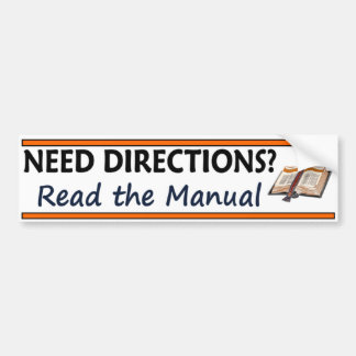 Need Directions?  Read the Manual Funny Bible Bumper Sticker