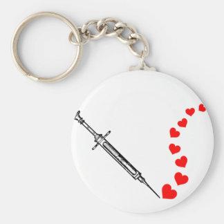 Needle Hearts (black) Basic Round Button Key Ring