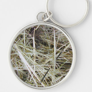 """needle in a haystack"" premium round keyring Silver-Colored round key ring"