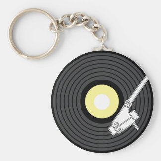Needle on the Record Basic Round Button Key Ring
