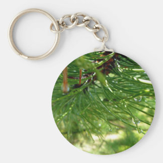 Needles & droplets basic round button key ring