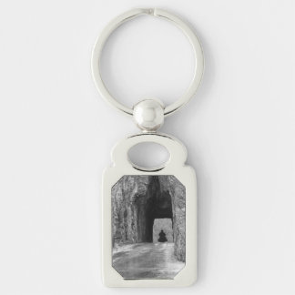 Needles Highway Tunnel Silver-Colored Rectangle Key Ring