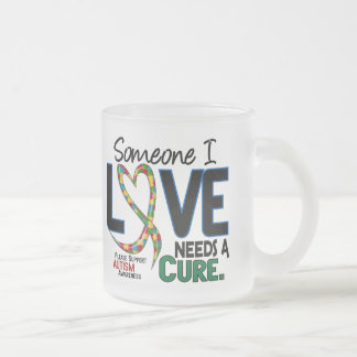 NEEDS A CURE 2 AUTISM AWARENESS FROSTED GLASS MUG