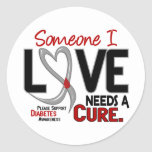 NEEDS A CURE 2 DIABETES T-Shirts & Gifts Round Sticker