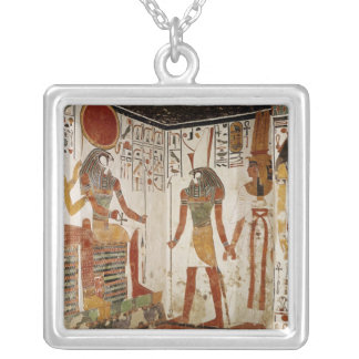 Nefertari is brought before the god silver plated necklace