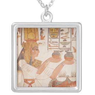 Nefertari Making an Offering Silver Plated Necklace