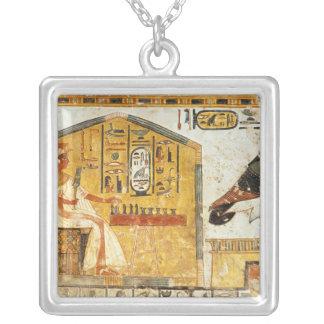 Nefertari playing senet silver plated necklace