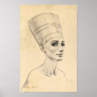 Nefertiti portrait ancient papyrus texture Poster
