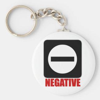 Negative 1 Red Basic Round Button Key Ring