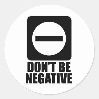 Negative 2 Black Round Sticker