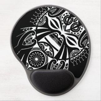 negative black tiki face mask design tatau koru gel mouse mat