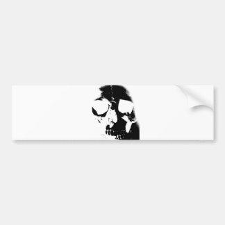 Negative Black White Skull Bumper Stickers