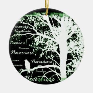 Negative Night Vision Nevermore Raven Silhouette Christmas Ornament