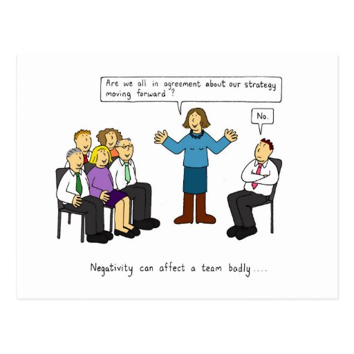 Negativity in the workplace humour. post card