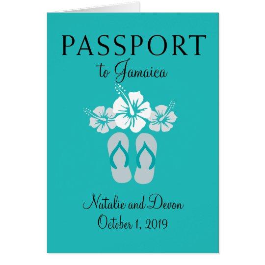 Negril Jamaica Turquoise Wedding Passport Card