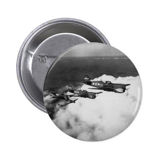 Negro Pilots in Shark-Nosed P-40 Fighter Aircraft Pinback Button