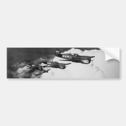 Negro Pilots in Shark-Nosed P-40 Fighter Aircraft Bumper Sticker